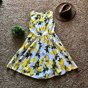 The Limited Lemon & Floral fit and flare dress